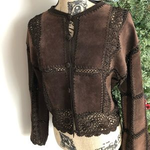 Vintage Scully Suede and Crochet Jacket